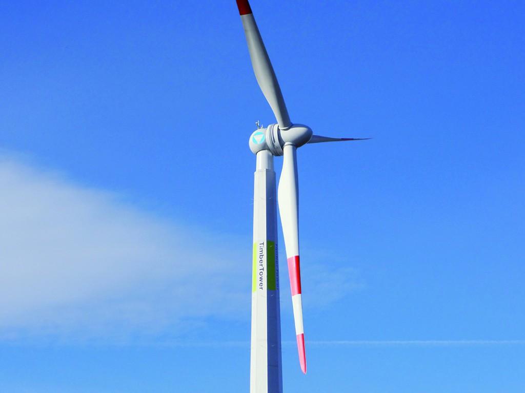 Prototyp einer Windenergieanlage mit Holzturm (Bild: Timbertower GmbH)